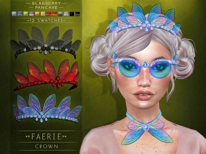 Sims 4 Faerie Set: Crown, Glasses & Collar at Blahberry Pancake