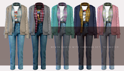 Shirt With Cardigan sets at NEWEN image 2624 Sims 4 Updates