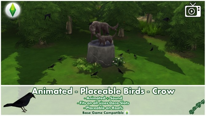 Sims 4 Animated Placeable Birds   Crow by Bakie at Mod The Sims