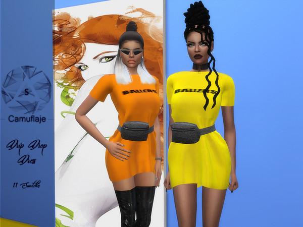 Sims 4 Drip Drop Dress by Camuflaje at TSR