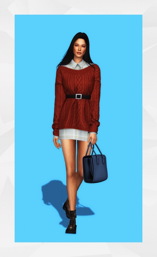 Sims 4 Belted Sweater Dress & Shirt at Gorilla