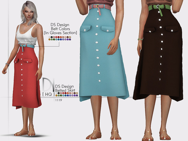 DS Design Belted Skirt by DarkNighTt at TSR image 2917 Sims 4 Updates