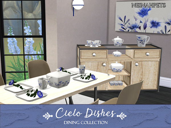 Cielo Dining Dish Collection by neinahpets at TSR image 3019 Sims 4 Updates