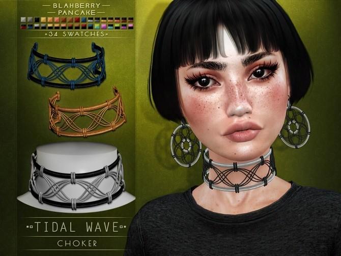 Sims 4 Tidal Wave choker & earrings at Blahberry Pancake