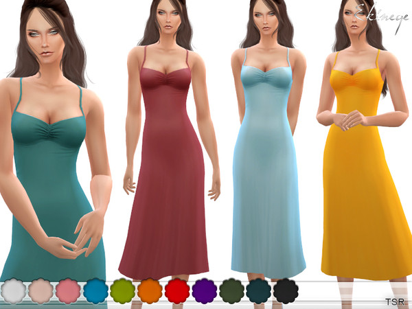 Sims 4 Ruched V Neck Midi Dress by ekinege at TSR