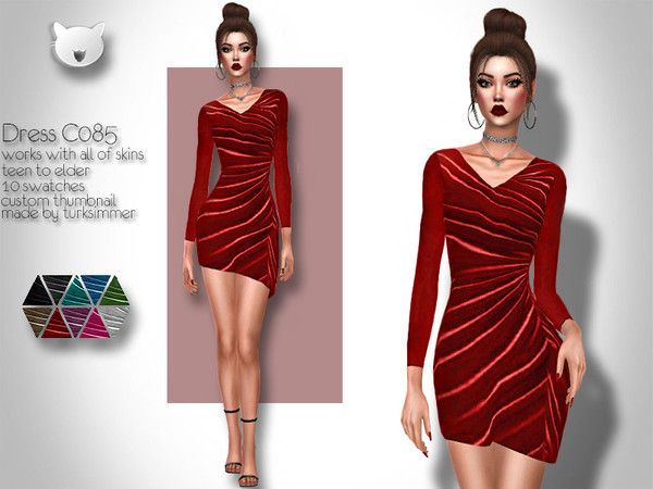 Sims 4 Dress C085 by turksimmer at TSR