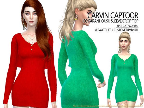 Paranhousu sleeve Crop Top by carvin captoor at TSR image 3519 Sims 4 Updates