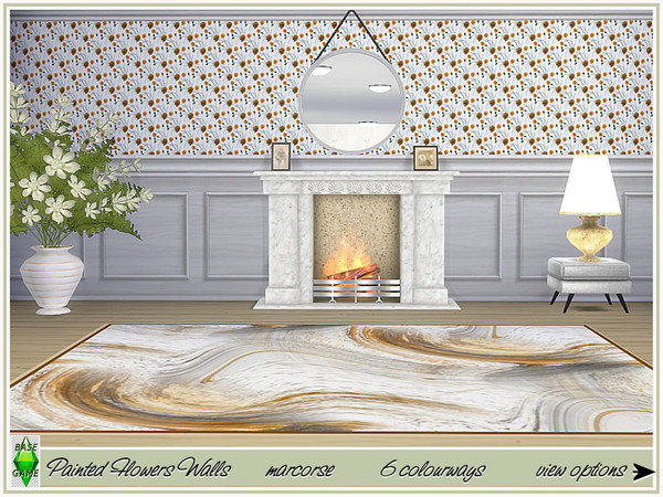 Painted Flowers Walls by marcorse at TSR image 364 Sims 4 Updates