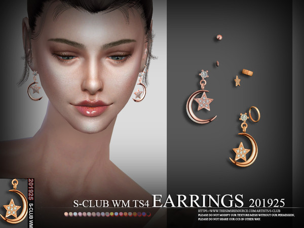 Sims 4 EARRINGS 201925 by S Club WM at TSR