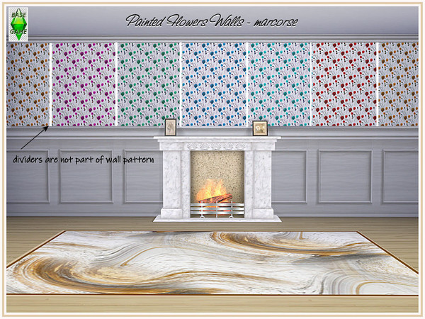 Painted Flowers Walls by marcorse at TSR image 374 Sims 4 Updates