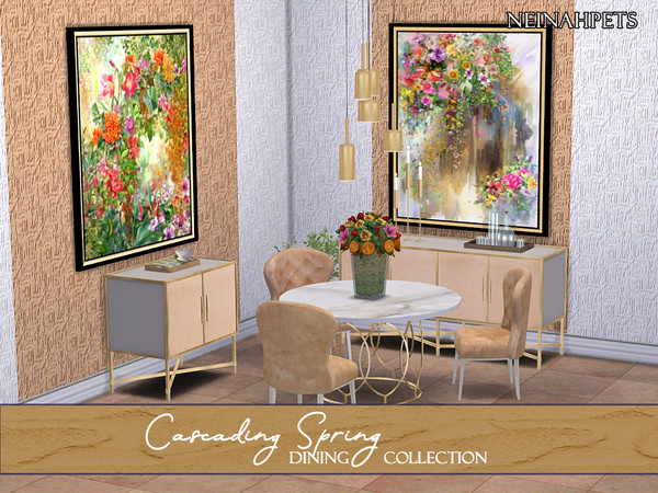 Cascading Spring Dining Collection by neinahpets at TSR image 3818 Sims 4 Updates