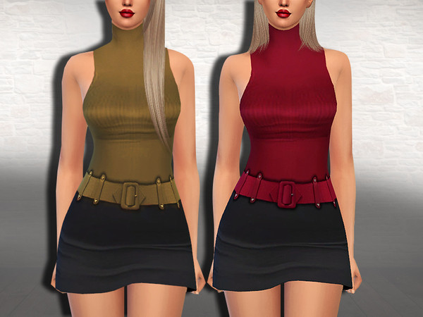 Sims 4 Office Lady Belt Outfits by Saliwa at TSR