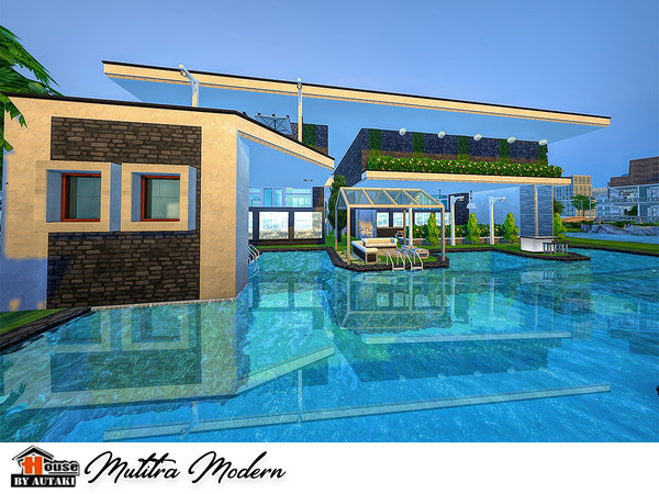 Sims 4 Mutitra Modern house by autaki at TSR