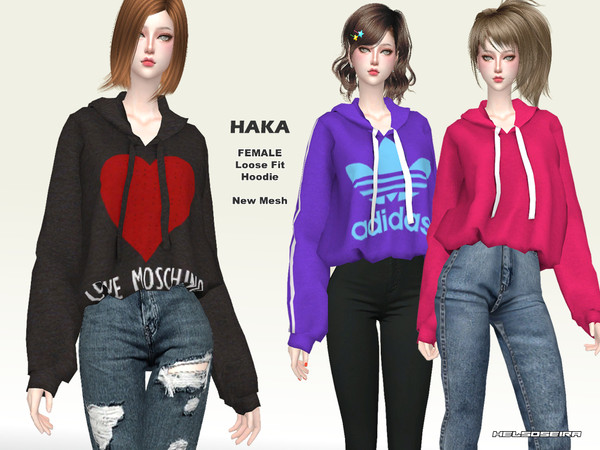 Sims 4 HAKA Loose Fit Hoodie by Helsoseira at TSR