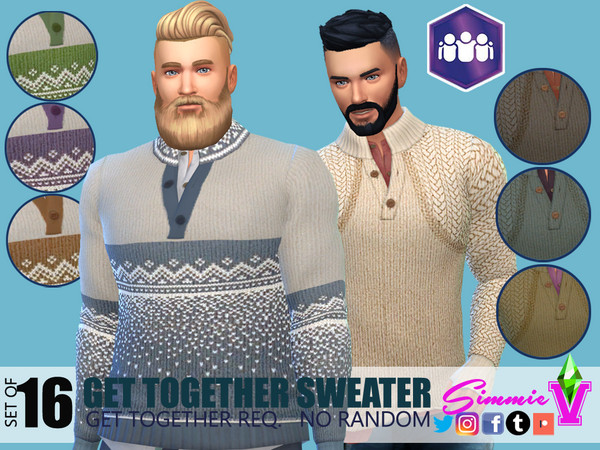 Sims 4 Together Sweaters by SimmieV at TSR