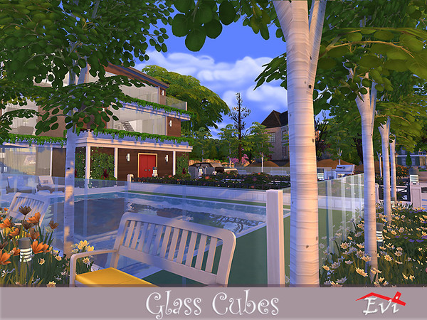 Sims 4 Glass Cubes house by evi at TSR