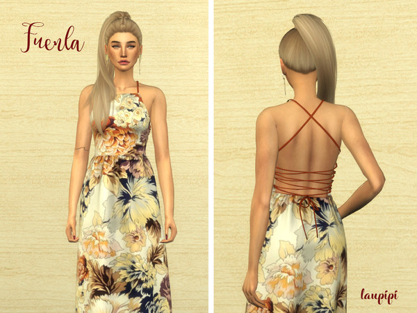 Sims 4 Fuenla Dress by laupipi at TSR
