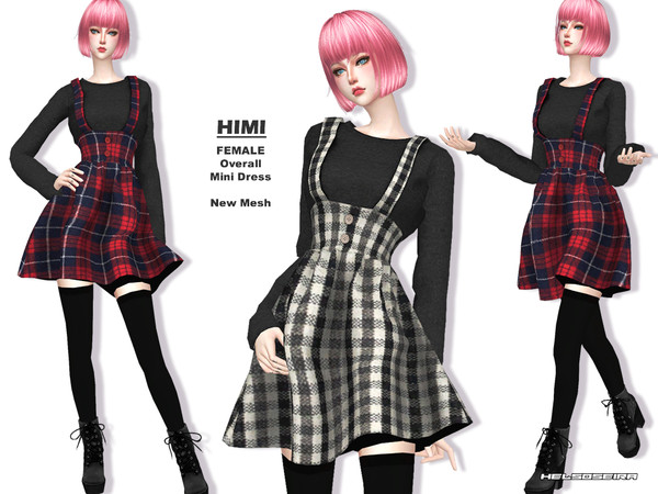 HIMI Overall Mini Dress by Helsoseira at TSR image 446 Sims 4 Updates