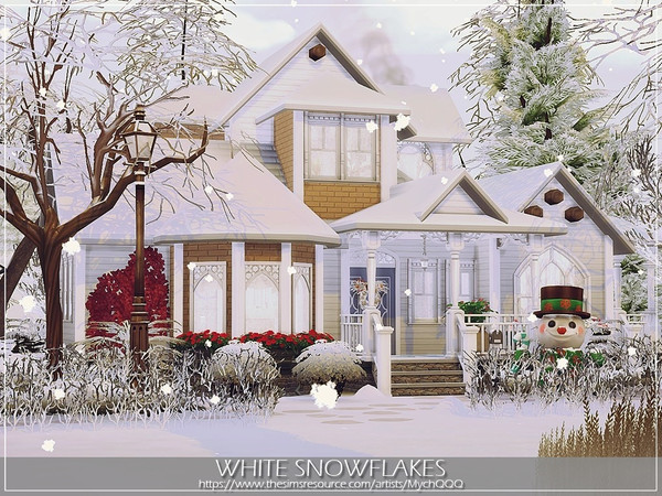 Sims 4 White Snowflakes house by MychQQQ at TSR