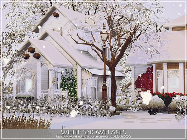 White Snowflakes house by MychQQQ at TSR image 4716 Sims 4 Updates