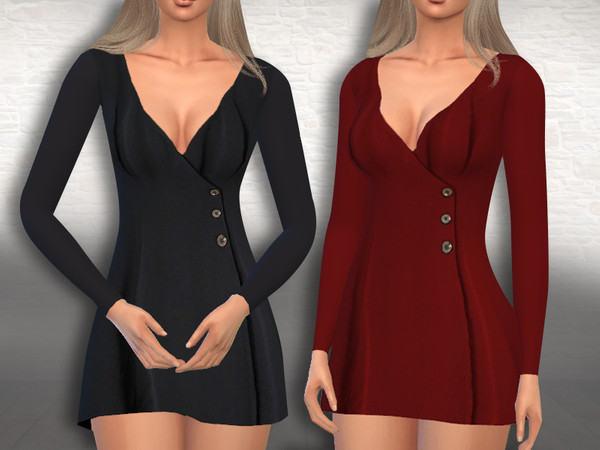 Sims 4 Female Button Formal Dresses by Saliwa at TSR