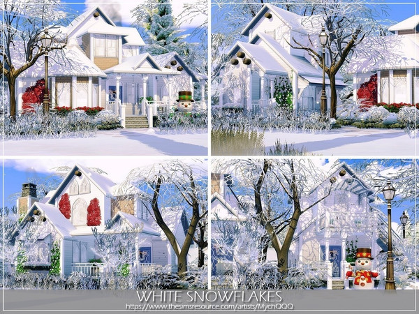 White Snowflakes house by MychQQQ at TSR image 4816 Sims 4 Updates