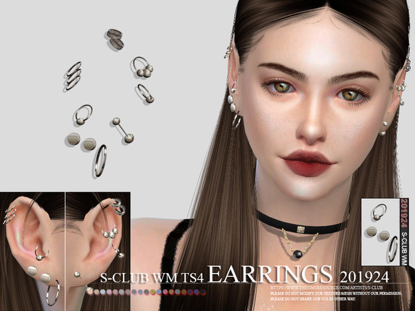 Sims 4 EARRINGS 201924 by S Club WM at TSR