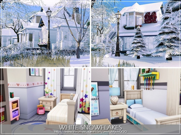 White Snowflakes house by MychQQQ at TSR image 4916 Sims 4 Updates