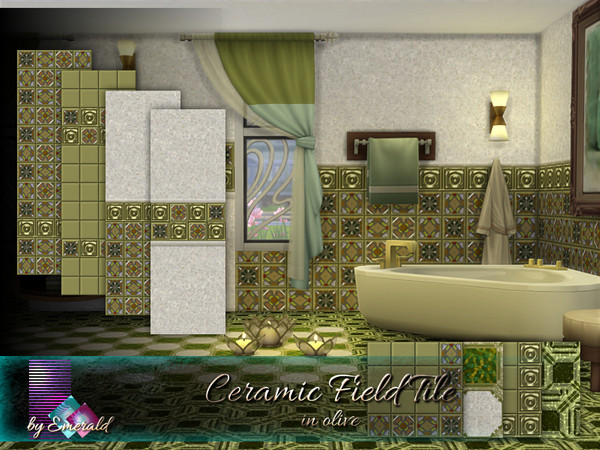 Sims 4 Ceramic Field Tile in olive by emerald at TSR