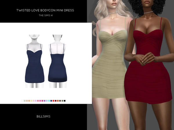 Sims 4 Twisted Love Bodycon Mini Dress by Bill Sims at TSR