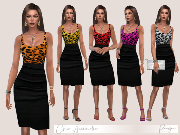 Sims 4 ChicAnimalier High waisted black skirt and leopard print top by Paogae at TSR