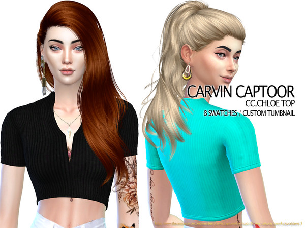 Sims 4 Chloe Top by carvin captoor at TSR