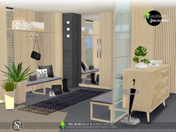Sims 4 Calligaris hallway by SIMcredible at TSR