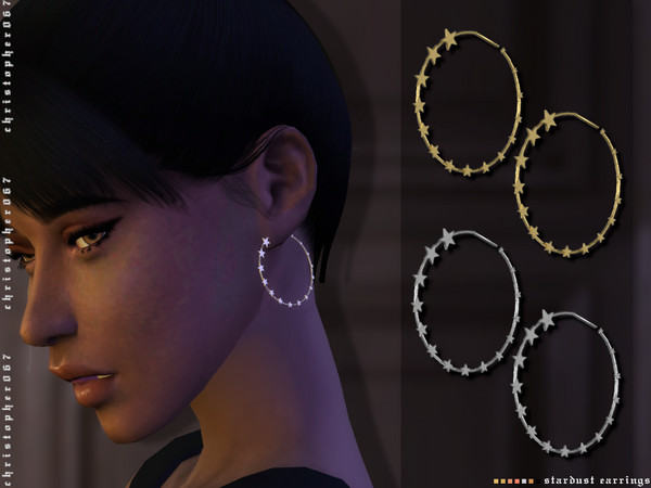 Sims 4 Stardust Earrings by Christopher067 at TSR