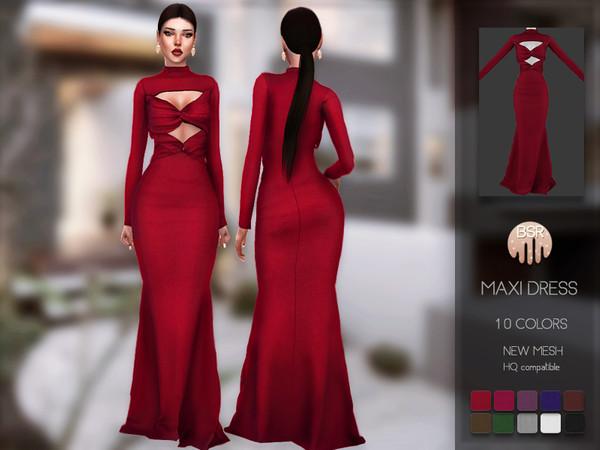 Sims 4 Maxi Dress BD146 by busra tr at TSR