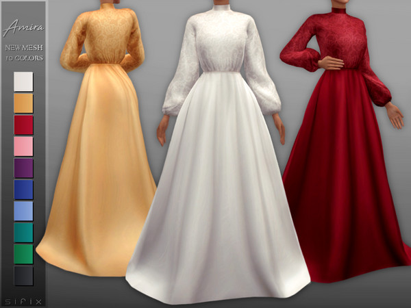 Sims 4 Amira Gown by Sifix at TSR