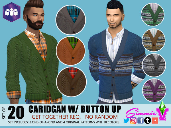 Sims 4 Cardigan with Button Up by SimmieV at TSR
