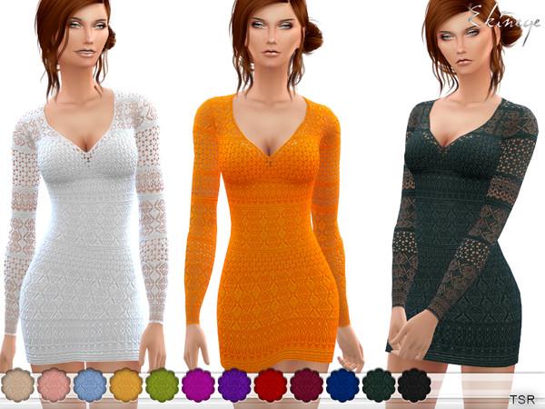 Sims 4 V Neck Crochet Dress by ekinege at TSR