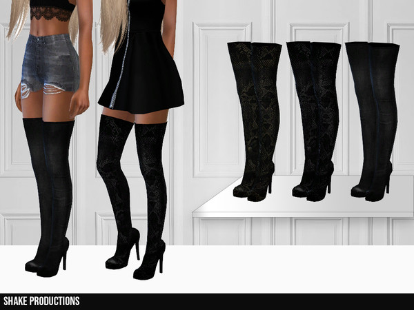 Sims 4 341 High Heel Leather Boots by ShakeProductions at TSR