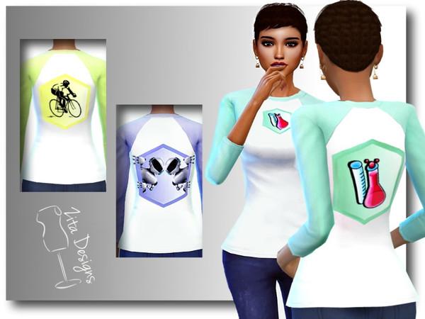 Sims 4 Varsity tops by ZitaRossouw at TSR