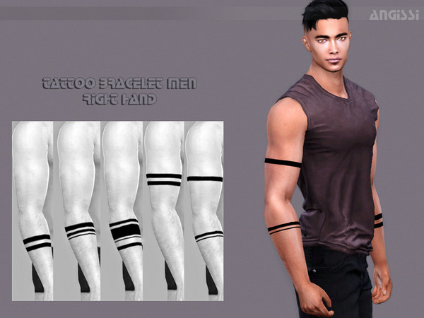 Sims 4 Tattoo bracelet men right hand by ANGISSI at TSR