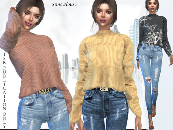 Sims 4 Womens sweater with a long sleeve short by Sims House at TSR