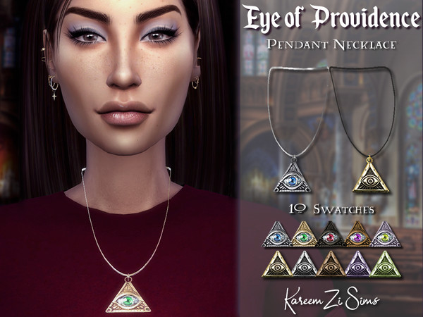 Eye of Providence Pendant Necklace by KareemZiSims at TSR image 636 Sims 4 Updates