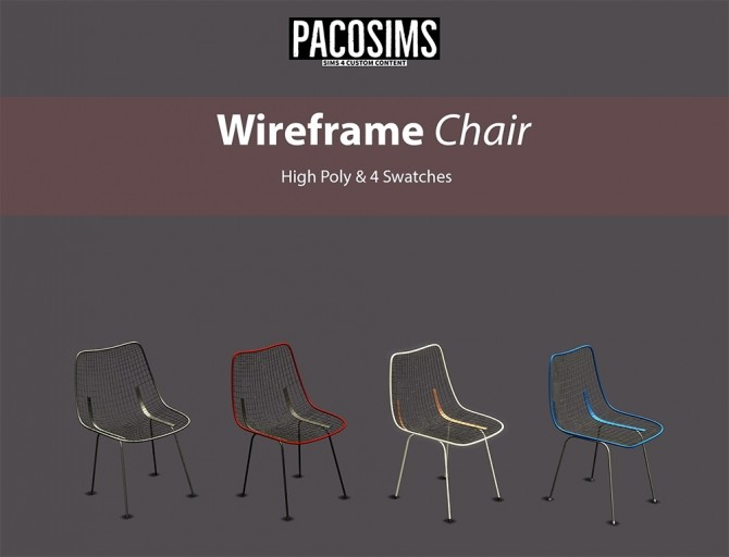Sims 4 Wireframe Chair (P) at Paco Sims