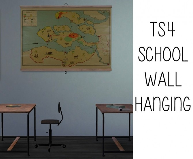 Sims 4 Wall hanging   Recolors of ATS' school screen at Riekus13
