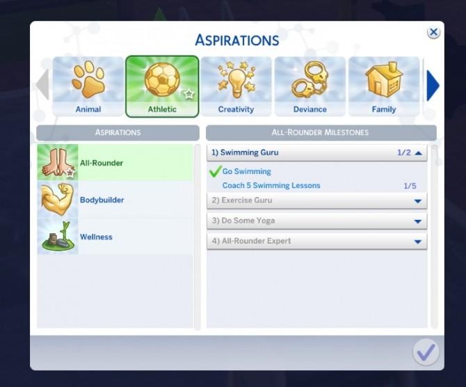 Sims 4 All Rounder aspiration at Kiara's Sims 4 Blog