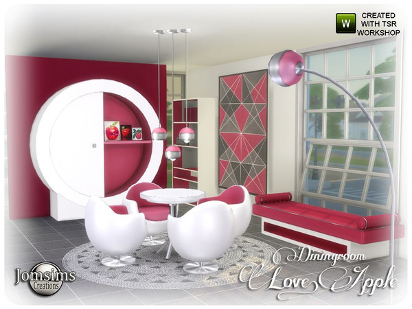 Love apple Dining room by jomsims at TSR image 6618 Sims 4 Updates