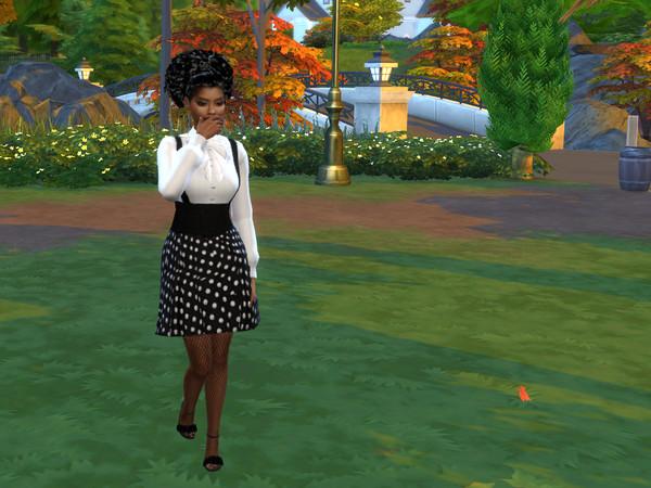 Sims 4 Fall Polka Dot Dress by drteekaycee at TSR