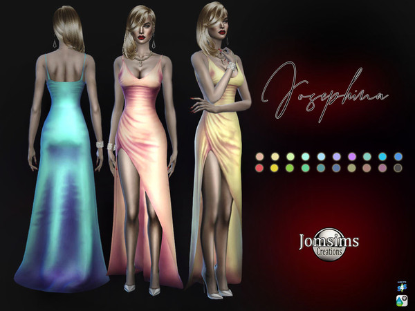 Josephina silky dress by jomsims at TSR image 67 Sims 4 Updates