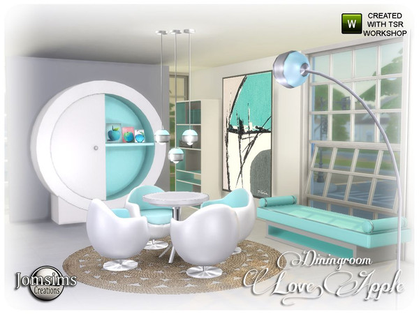 Sims 4 Love apple Dining room by jomsims at TSR
